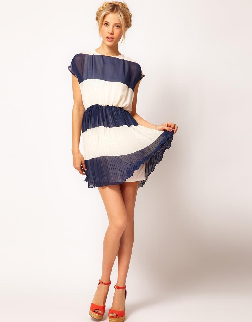 Asos asos stripe skater dress with pleated skirt at asos my