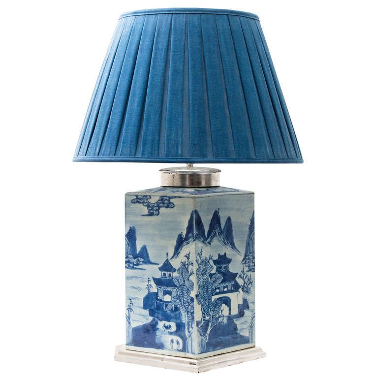 Chinese Blue White Porcelain Tea Cannister Early 19thc From A Unique Collection Of Antique And Modern Table Lamps At
