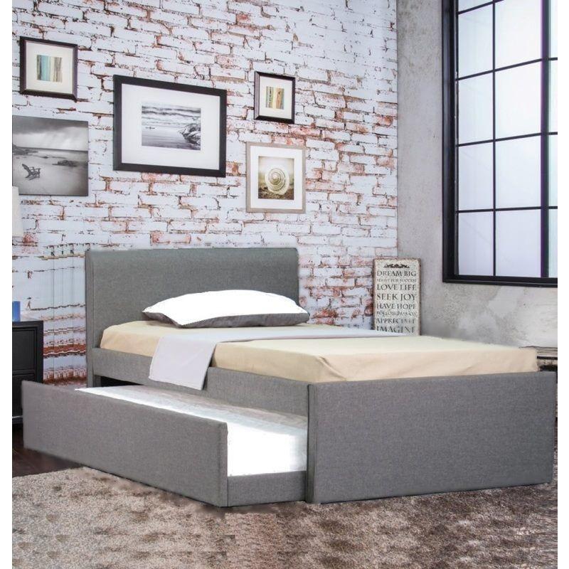 Selina Fabric King Single Bed Frame Grey w Trundle shopping Buy
