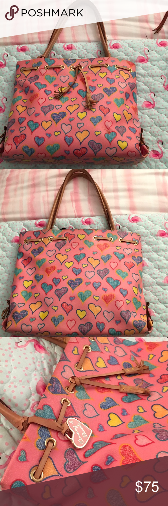Dooney & Bourke Pink Crayon Heart Tote Hello friends, you are looking at a pristine condition used tote. Beautiful pink with colorful crayon hearts. Super cute. The trim and accents are in leather showing patina. Love, love, love...Don't miss out!  Dooney & Bourke Pink Crayon Heart Tote Hello friends, you are looking at a pristine condition used tote. Beautiful pink with colorful crayon hearts. Super cute. The trim and accents are in leather showing patina. Love, love, love...Don't miss out! #cr #crayonheart