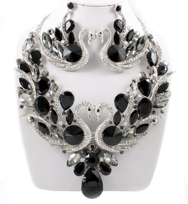 Jewelry Sets, SWANS BLACK AUSTRIAN RHINESTONE BIB NECKLACE
