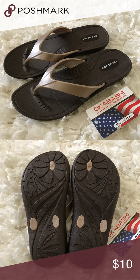 Okabashi Flip Flops Brand new with tags. Size small which fits a women's  size 5