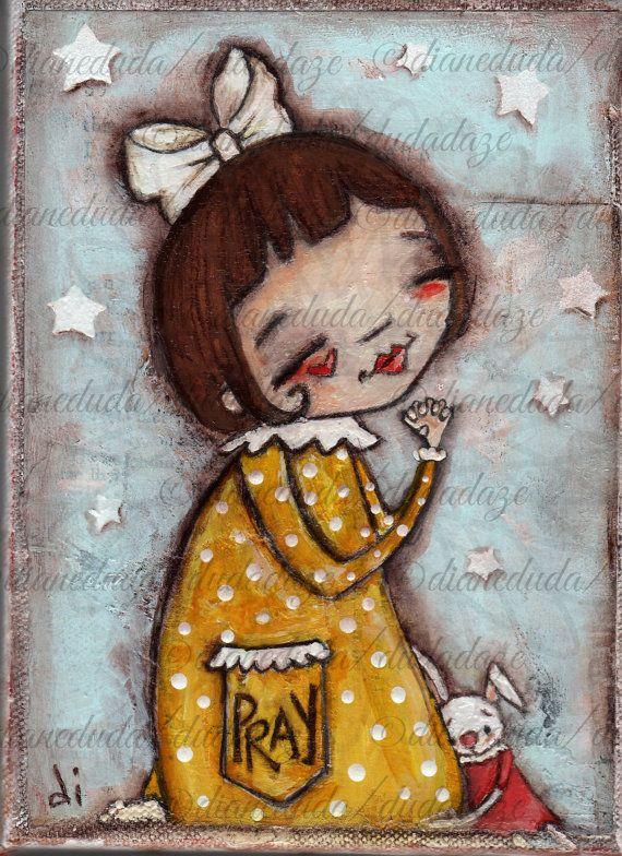 """Original Mixed Media Painting by Diane Duda """"A Child's Prayer"""" by DUDADAZE ©dianeduda/dudadaze"""