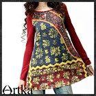 Artka style round ethnic collar  red dress T-shirt A08995Z