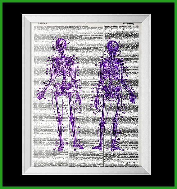 Photo of Purple Skeletons Anatomy Dictionary Art Print Vintage Antique Book Art Recycled …