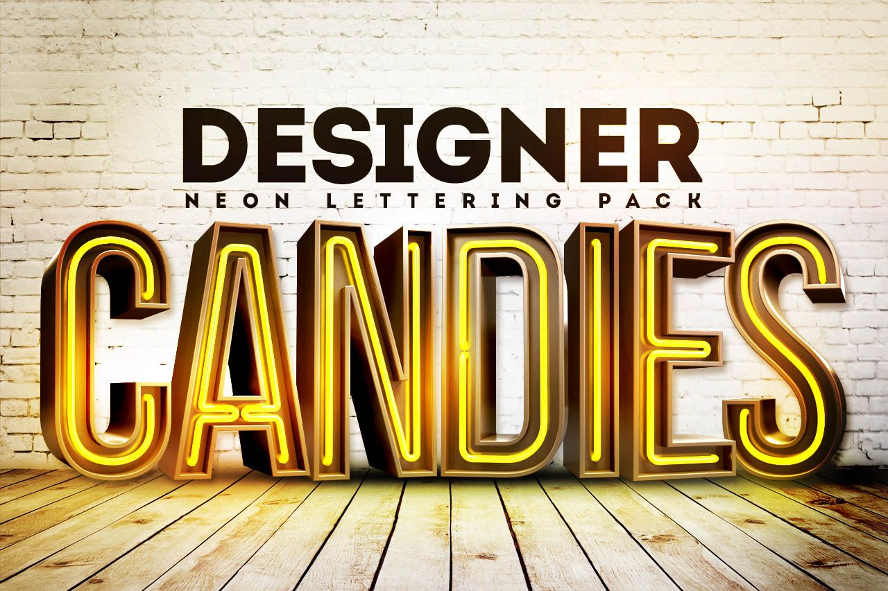 Download Free 3D Neon Lettering Renders Pack | Lettering, Neon ...