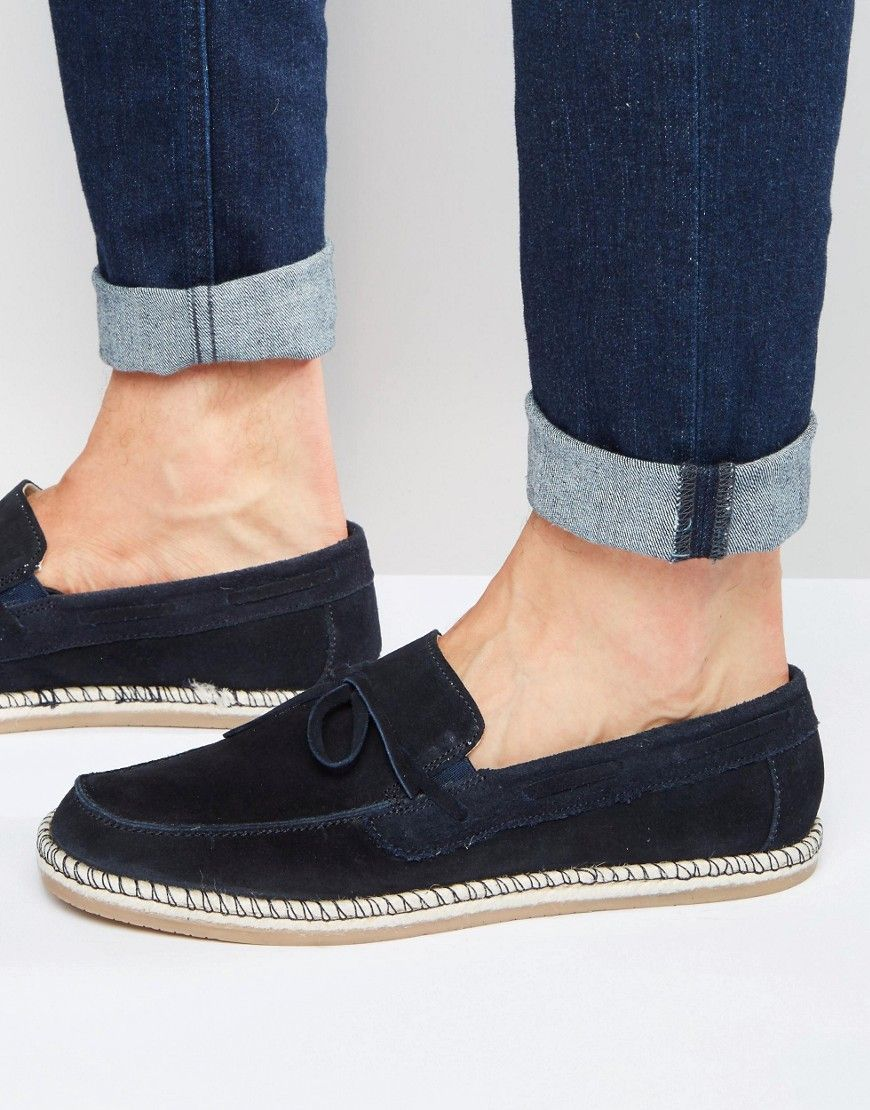 0b2ea3389a9 ASOS+Loafers+With+Tie+Front+in+Navy+Suede