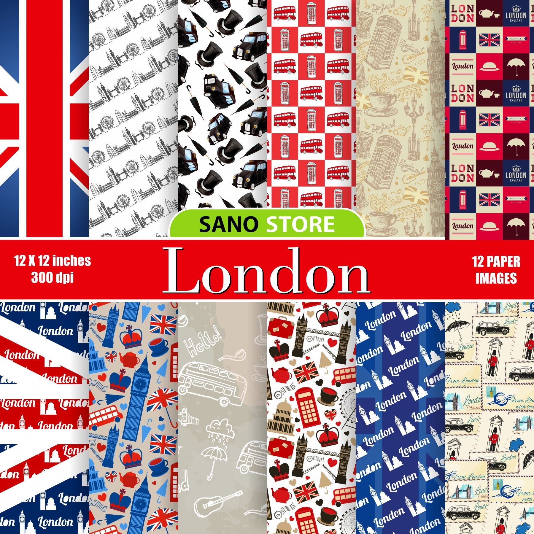 London Digital Paper British Paper Scrapbook Paper London