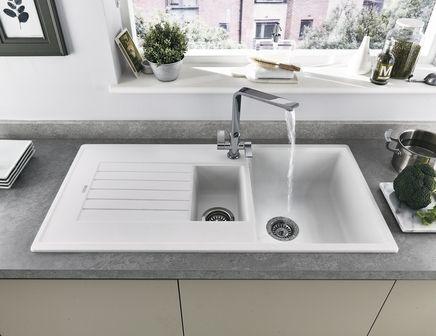 Lamona White granite composite 1.5 bowl sink | Ikea kitchen ...
