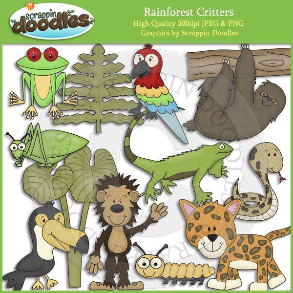 Rainforest Critters Clip Art Rainforest Theme Cute Clipart