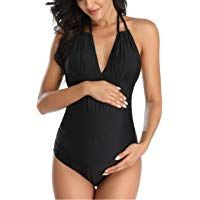Maternity Floral Swimsuit One Piece V-Neck Pregnancy Swimwear Halter Maternity B... 2