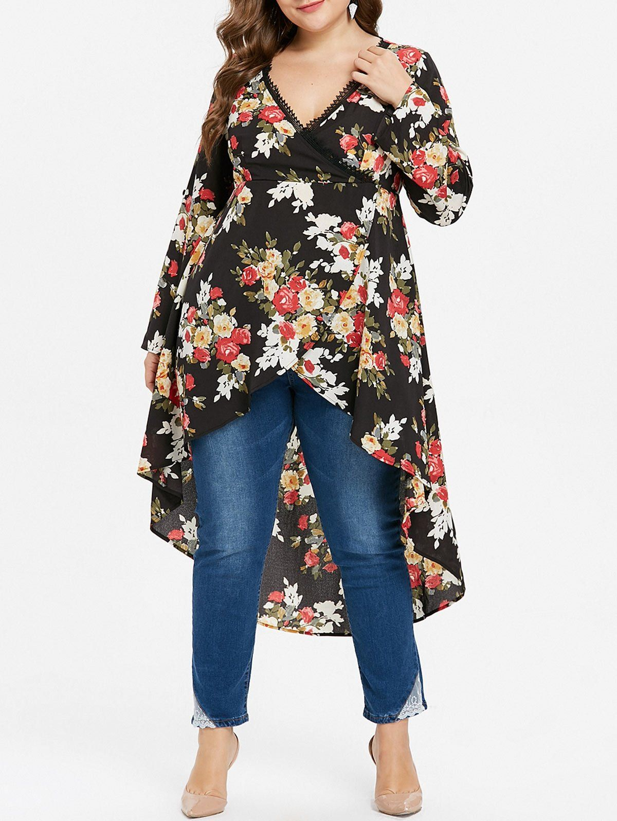 87b25e8e9ac Plus Size High Low Floral Print Surplice Blouse in 2019