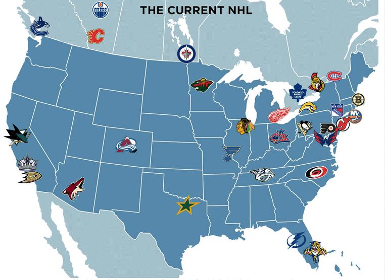 Nhl Teams Map Nhl National Hockey League