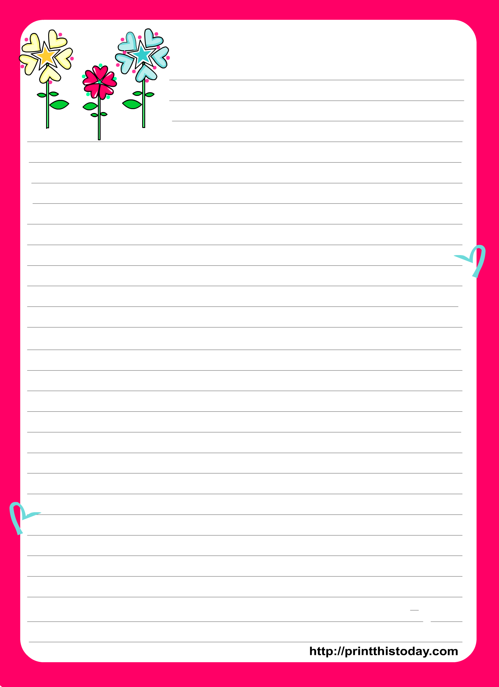 Love Letter Pad Stationery with Colorful heart – Templates for Love Letters