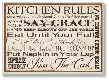 Kitchen Rules Typography Rect Wall Plaque Contemporary Novelty Signs