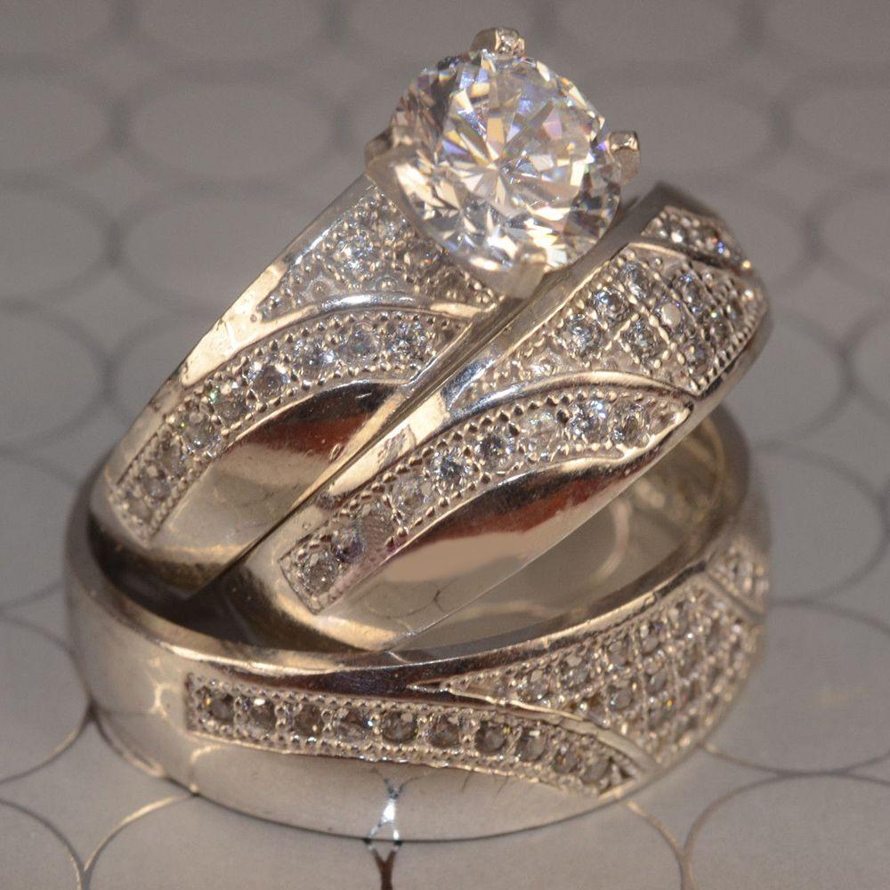 Men's Women's Engagement Ring Trio Set Diamond 10k White