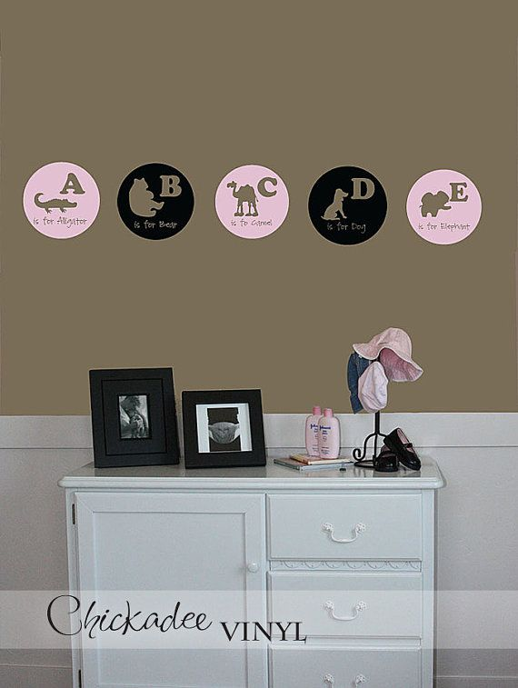 Alphabet A to Z vinyl wall decals by ChickadeeVinyl on Etsy, $79.99