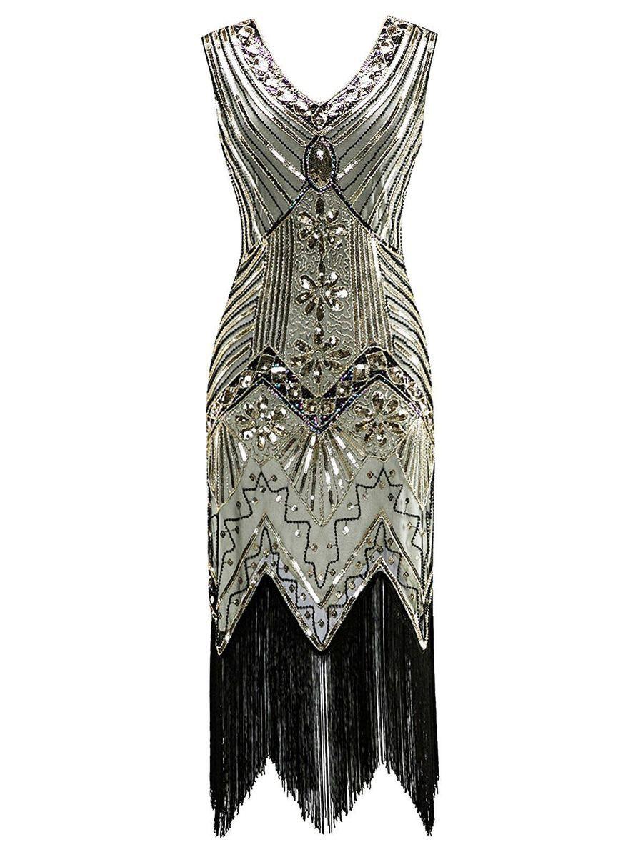 Champagne 15s Pearl Franse Flapper Dress – UniqueRetro.Store