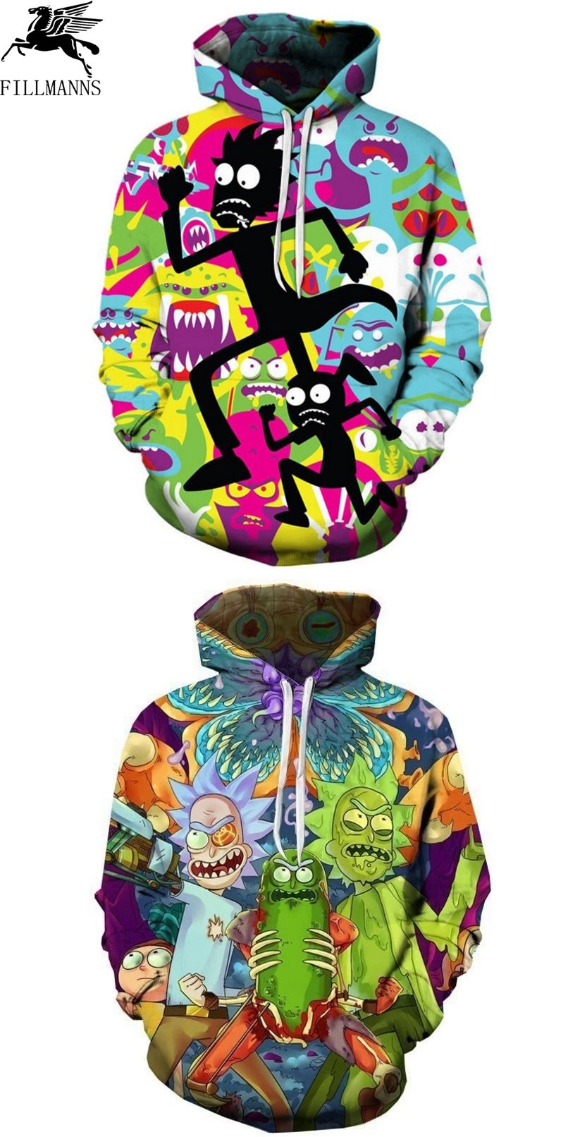 FILLMANNS Sweatshirts Men Cartoon Rick and Morty Fashion hooded Women  Street wear Hipster Pullovers Funny Rick 3d Print Hoodies c120a1ece416