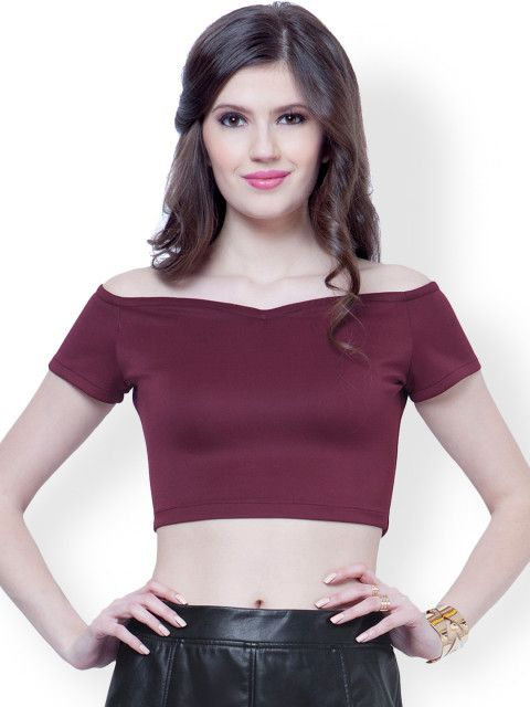 9d988677b3e667 Buy FabAlley Maroon Off Shoulder Polyester Crop Top - - Apparel for Women  from FabAlley at Rs. 950