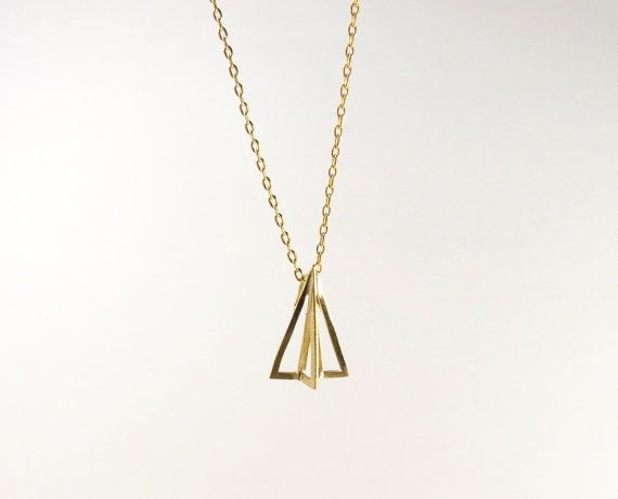 Gold geo Paper Airplane Necklace/origami airplane by DearMia, $14.00