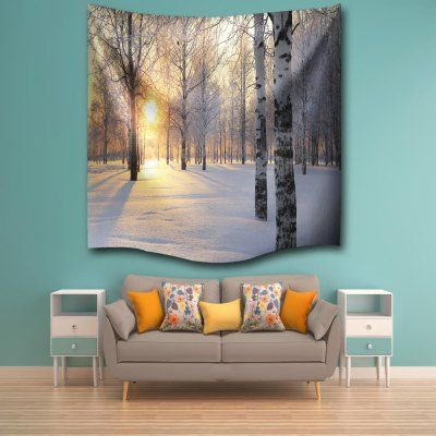 snow tree dawn 3d digital printing home wall hanging nature art fabric tapestry for bedroom living room decorations is part of Tapestry - Snow Tree Dawn 3D Digital Printing Home Wall Hanging Nature Art Fabric Tapestry for Bedroom Living Room Decorations Natureart Snow