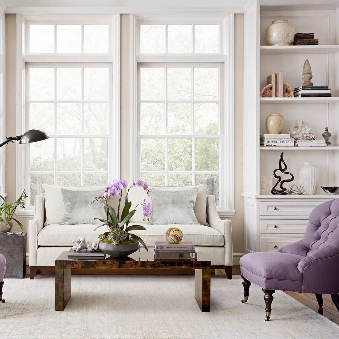 We adore this room with hints of lilac and lavender! With a neutral ...