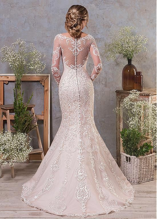 [256.00] Elegant Tulle & Organza Bateau Neckline Natural Waistline 2 In 1 Wedding Dress With Lace Appliques & Beadings & Detachable Skirt - magbridal.com.cn