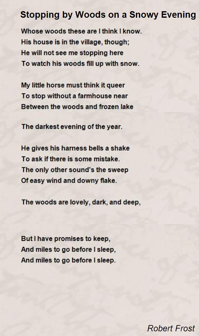 Stopping By Woods On A Snowy Evening Poem By Robert Frost Poem Hunter In 2020 Robert Frost Poems Famous Poems Poems