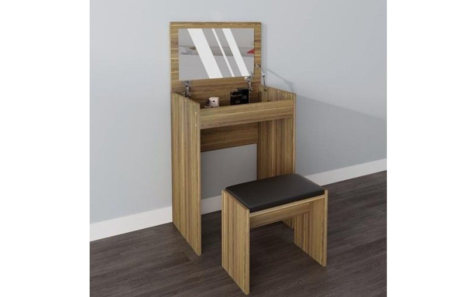 Pleasing H4Home Small Dressing Table Set With Mirror And Stool Walnut Spiritservingveterans Wood Chair Design Ideas Spiritservingveteransorg