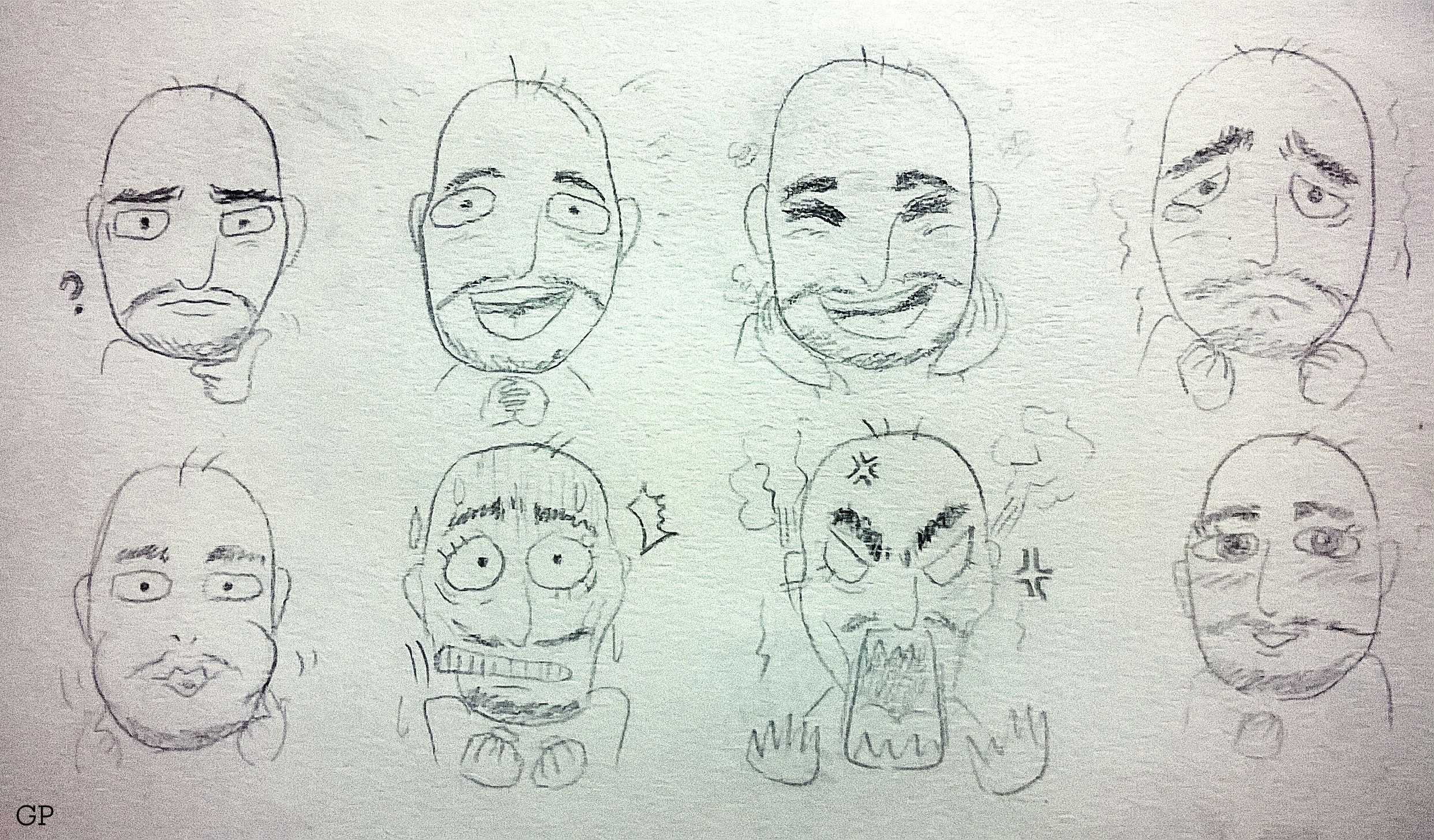 Drawing With Lines And Dots : A bald man's facial expressions [green's] lines dots and stories
