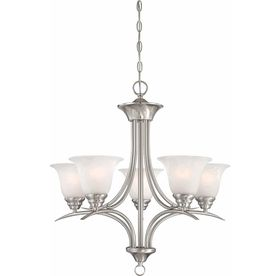 Chama 23.75-In 5-Light Brushed Nickel Alabaster Glass Candle Chandelie