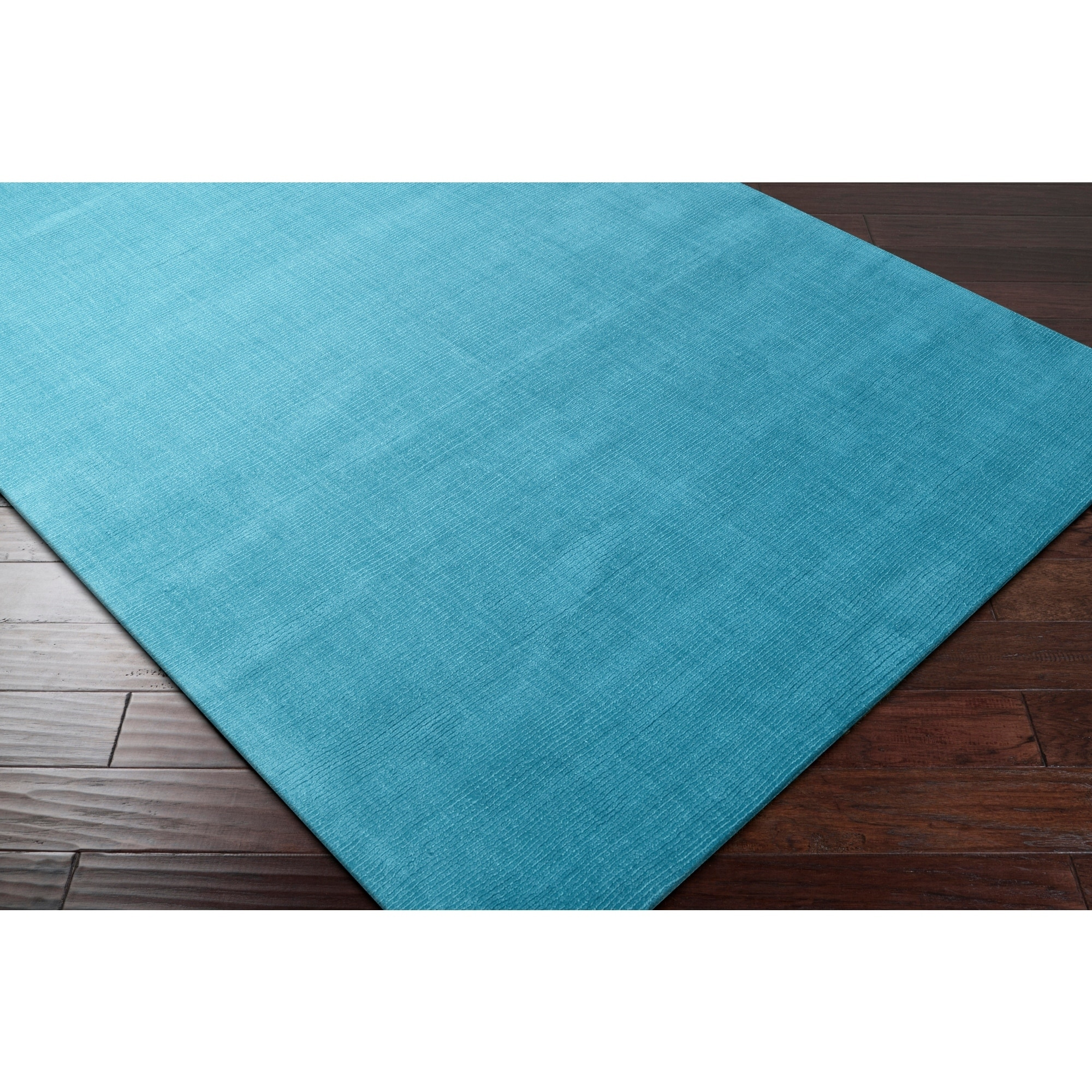 Hand Crafted Teal Blue Solid Casual Ridges Wool Area Rug 2 6 X 8 Runner Surplus Wool Area Rugs Area Rugs Area Rugs For Sale