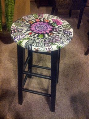 I just finished this makeup chair for my daughter's new room. All done with Sharpies!