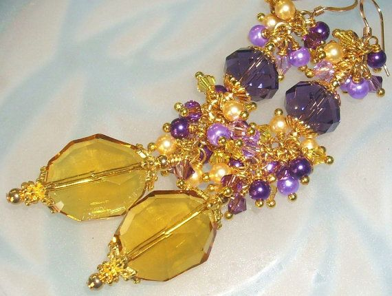 Purple and Gold Dangle Earrings Long Purple by hhjewelrydesigns, $40.00