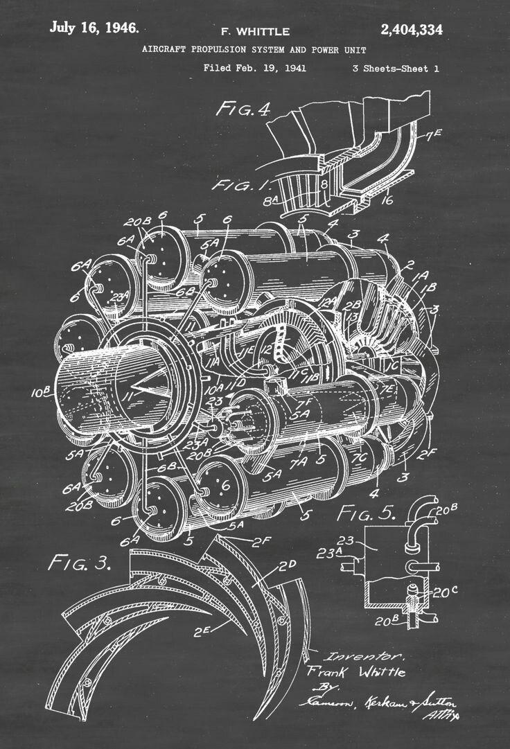 Vintage Engine Diagram Wiring Library Frank Whittles Jet Design Circa 1941 Blueprints