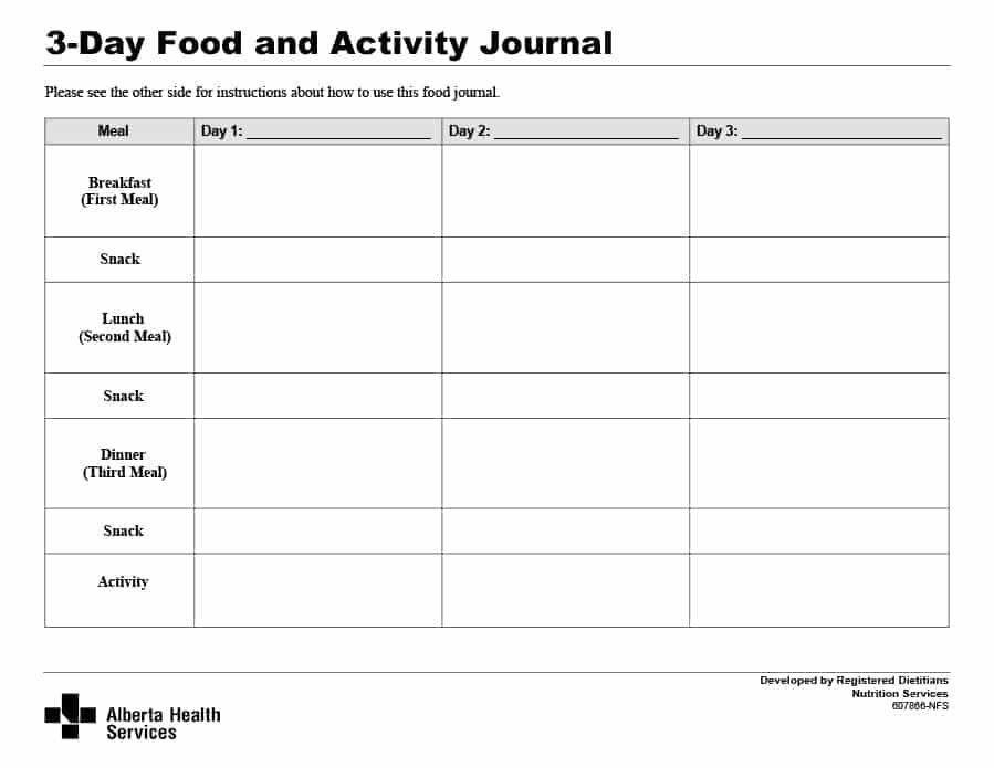 simple food log template