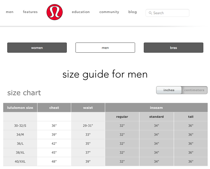 Sizing chart for men from lululemon sizing charts for men s