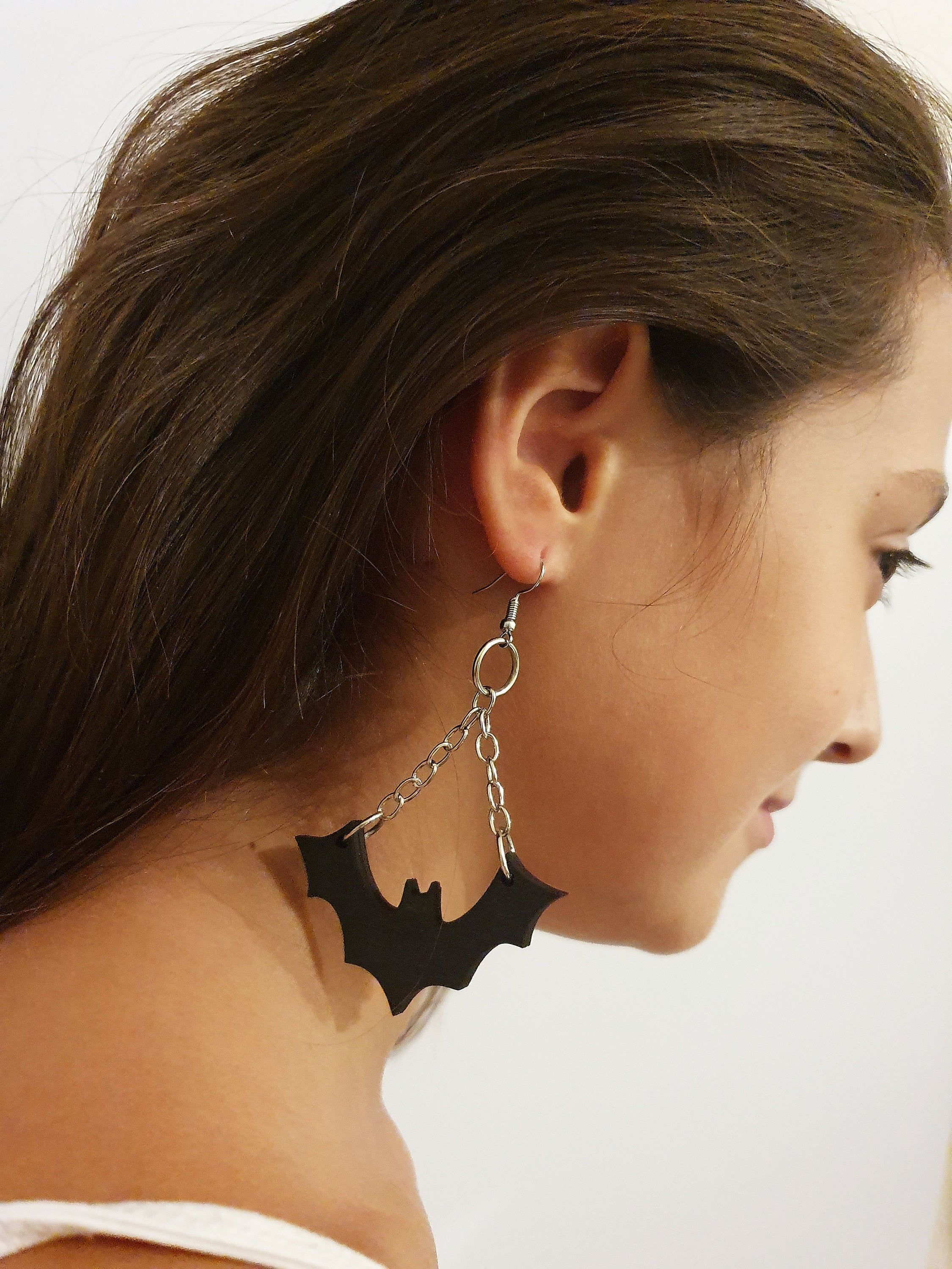 Bat Earrings Halloween Jewelry , Drop Earrings , Wooden Black Earrings , Halloween costume , Spooky Outfit #spookyoutfits Bat Wooden Earrings specially designed as Halloween accessory . These can be a perfect addition to your Halloween costume and spooky look .  Drop Black Earrings , Wooden Jewelry  Length : 8 cm  Width : 5 cm  Material : Wood Colour : Black #spookyoutfits Bat Earrings Halloween Jewelry , Drop Earrings , Wooden Black Earrings , Halloween costume , Spooky Outfit #spookyoutfits Ba #spookyoutfits