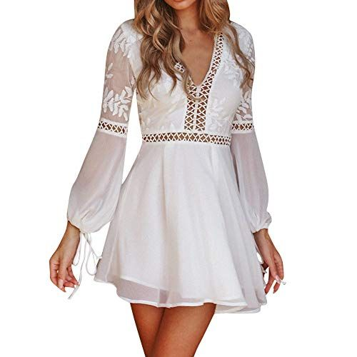 f9a4aae38 DEATU A Line Dresses for Women, Clearance Ladies V-Neck Lace Long Sleeve  Backless Party Bandage Mini Dress(White ,L) Best Boho Dress Summer USA