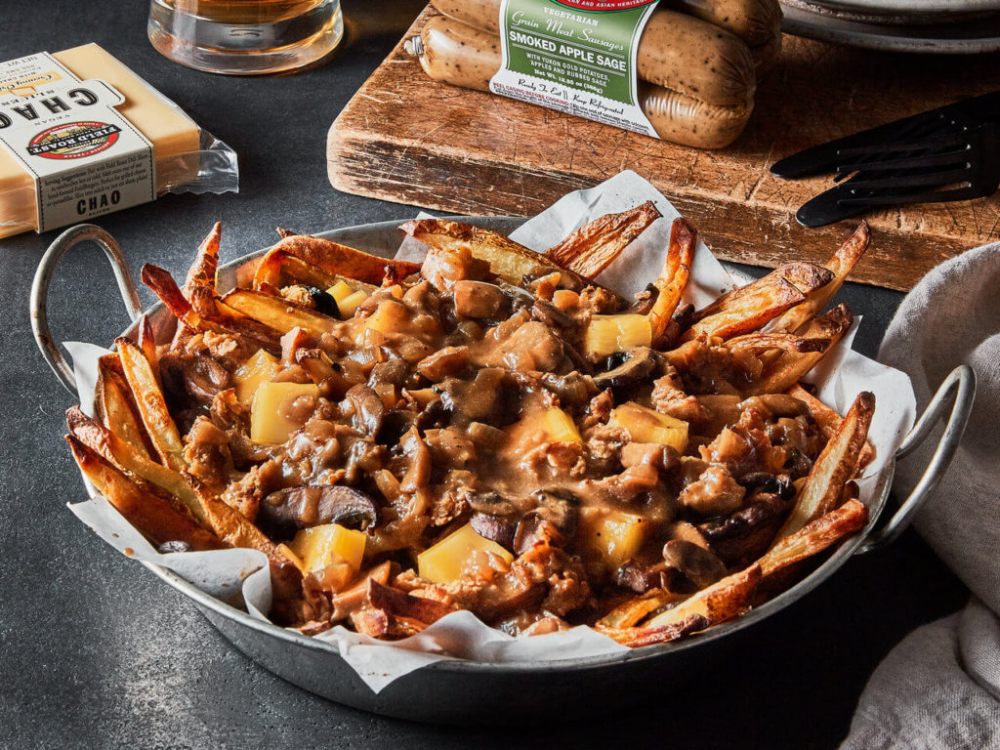 Epic Vegan Poutine With Smoked Apple Sage Sausage And Creamy Original Chao Field Roast In 2020 Sage Sausage Gardein Recipes Vegan Appetizers