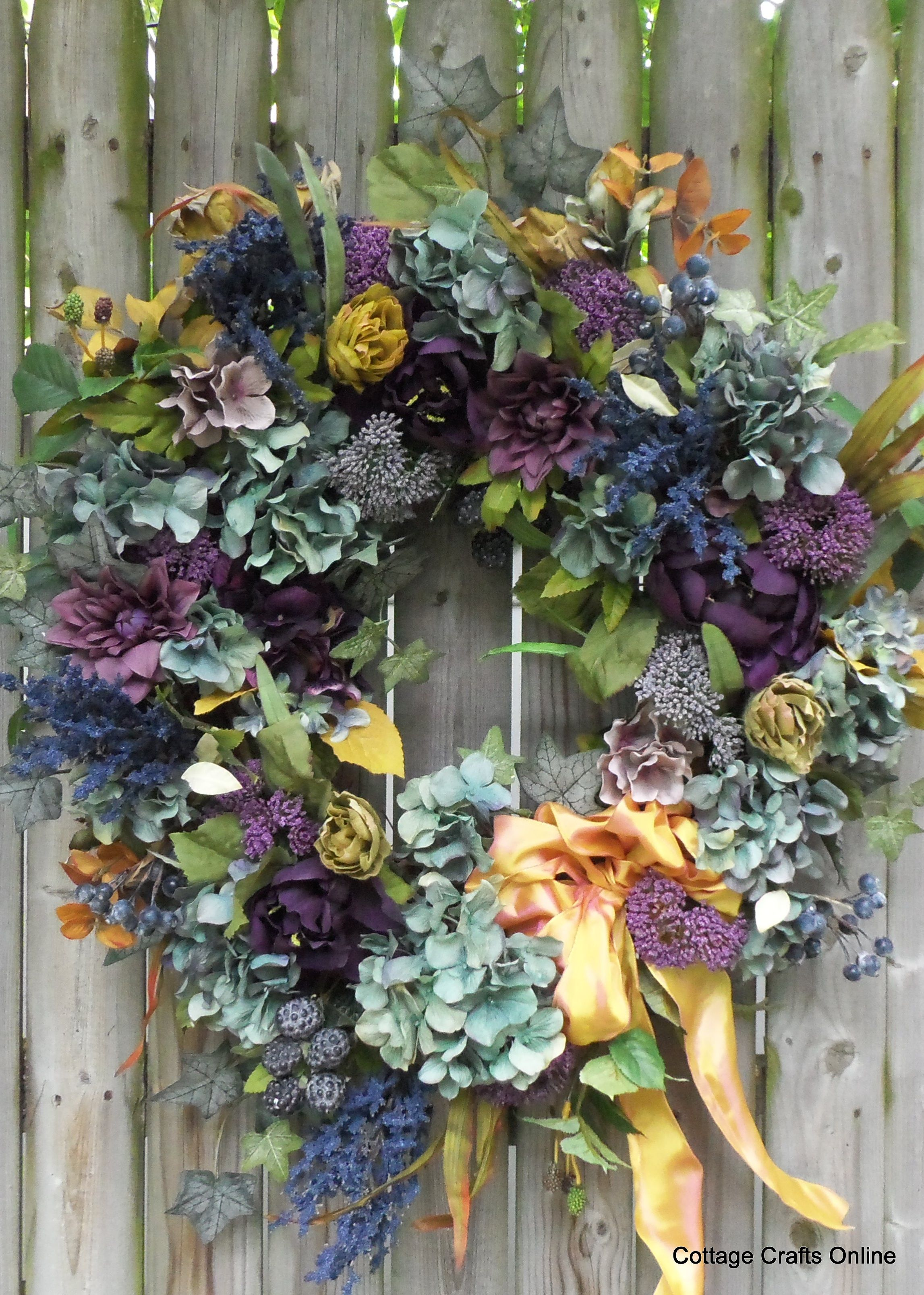 """Blues for Autumn"" silk floral door wreath from Cottage Crafts Online."