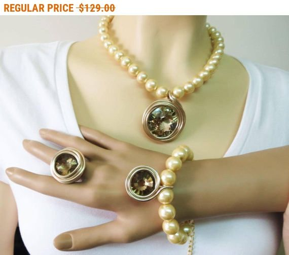 Gold Jewelry Set Rose Gold Jewelry Set Peals Jewelry Set Home
