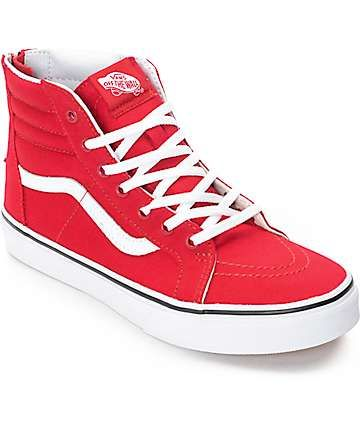 Vans Sk8-Hi Zip Racing Red Boys Skate Shoes  c36440ad1