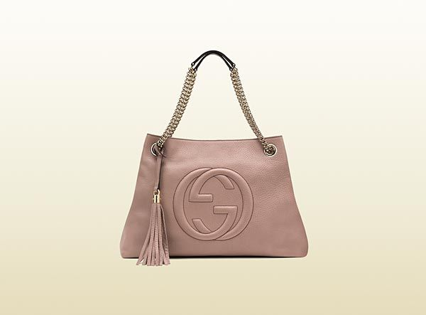 303103bb6eaee4 Gucci Soho medium light pink leather tote with chain straps | Arm ...