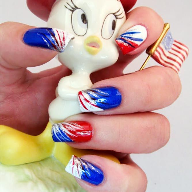 Fantastic Red Nails Ideas For Stylish Ladies -   14 red white and blue nails ideas