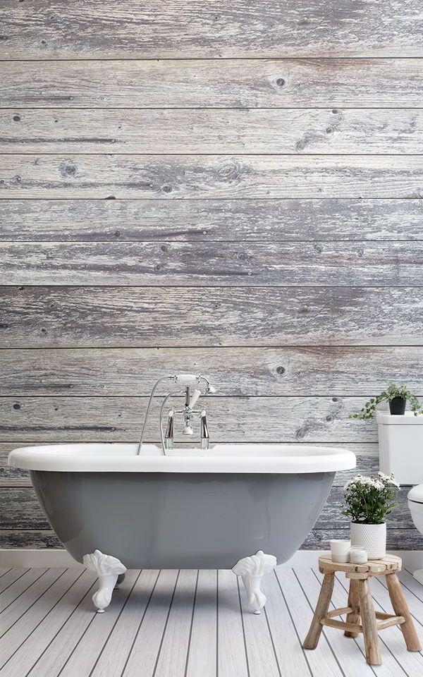 Grey Wooden Plank Wallpaper Aged Wood Style Muralswallpaper In 2020 Grey Plank Wallpaper Wood Effect Wallpaper Farmhouse Bathroom