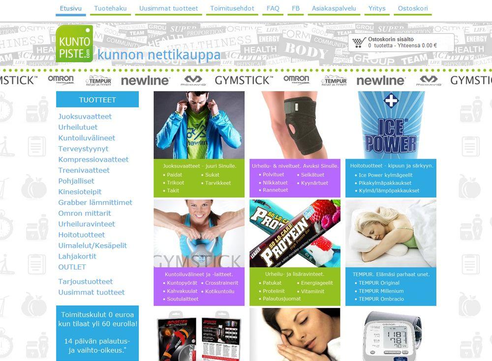 Maaliskuussa kotisivukilpailun voitti Kuntopiste.comin verkkokauppa, joka myy liikunta-, terveys- ja hyvinvointituotteita. Verkkokaupan ulkoasu on uudistettu onnistuneesti Kotisivukoneen uuden ulkoasun muokkauksen avulla. Tuoteryhmät on tuotu hyvin esille etusivulle, valikot ovat selkeät ja myös tuotehaku on nostettu kätevästi päävalikkoon. Verkkokaupan maksu- ja toimitustavat on tuotu selkeästi esiin ja yhteydenotto nettikaupan asiakaspalveluun on tehty helpoksi.