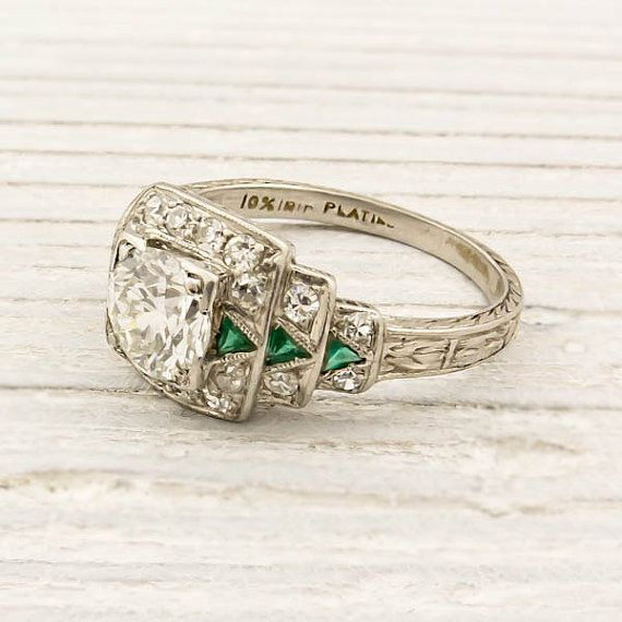 1920s Old European cut diamond  emerald engagement ring.  Love the triangle-cut emeralds!