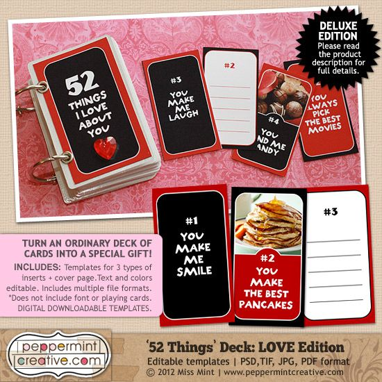 Things I Love About You DIY Book You Can Personalize For The - Best of 52 reasons why i love you cards templates ideas